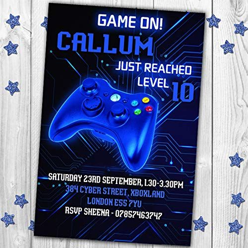 10 Gaming Video Game XBox PS4 Personalised Birthday Party Invitations Invites Jump