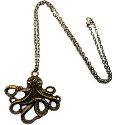 Vintage Steampunk Nautical Style Antiqued Bronze Octopus Necklace 28 inch Long Chain Vintage Steampunk Nautical Style. Antiqued Bronze Finish Octopus Pendant. 28 inch Bronze Chain Necklace. Pendant is 2-1/4 x 1-3/4 inch (55x45mm).  #niceEshop #Jewelry