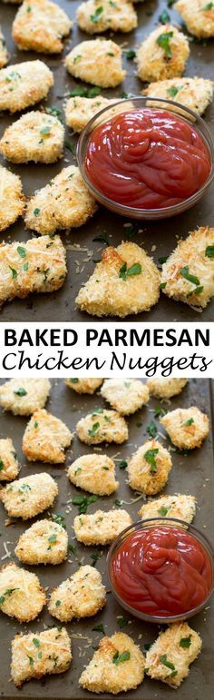 Super Crispy Baked Parmesan Garlic Chicken Nuggets. Breaded in panko breadcrumbs and Parmesan cheese and baked until golden brown and crispy. Wonderful as an appetizer or for dinner! | chefsavvy.com #recipe #baked #chicken #nuggets #parmesan