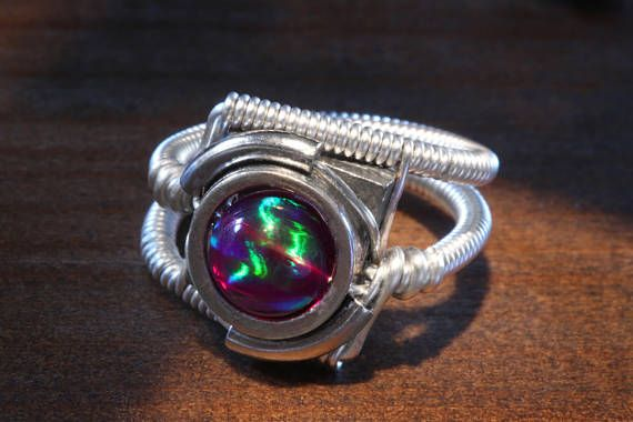 Steampunk Jewelry  Ring  Purple Galaxy Lab Created Opal