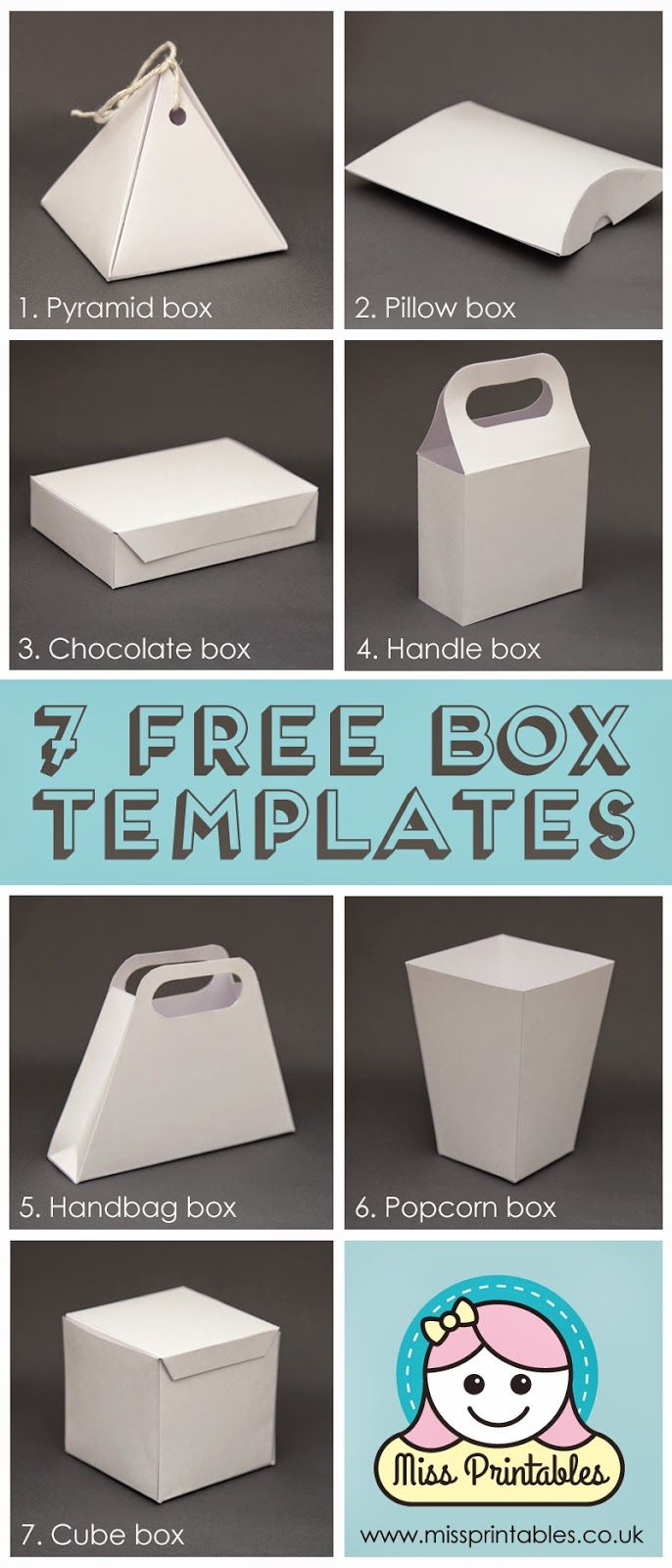 Blank box templates - freebie! have fun making these boxes and decorating them yourselves with this free printable file.