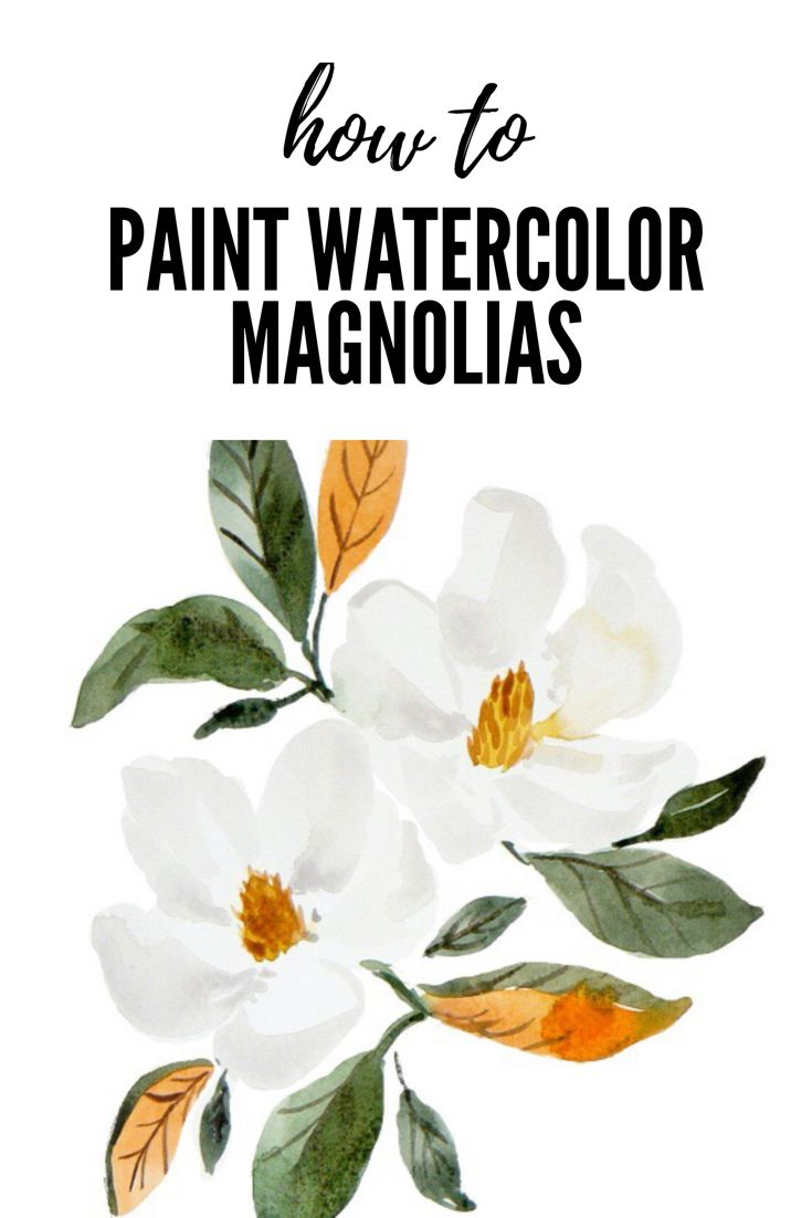 Free Tutorial How To Paint White Watercolor Magnolias Watercolor Paintings Easy Watercolor Flowers Tutorial Watercolor Paintings