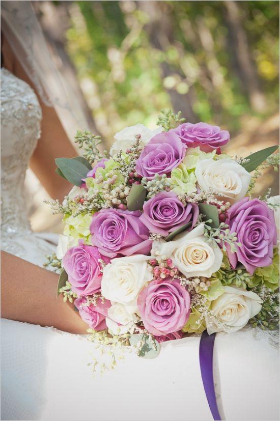 purple and white rose bouquet #fairytalewedding #bouquet #weddingchicks http://www.weddingchicks.com/2014/01/27/princess-bride-wedding-inspiration/