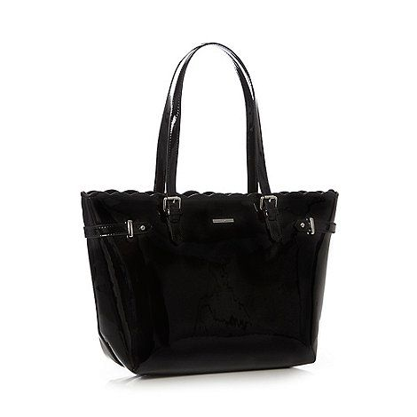 The Collection Black patent scalloped tote bag | Debenhams