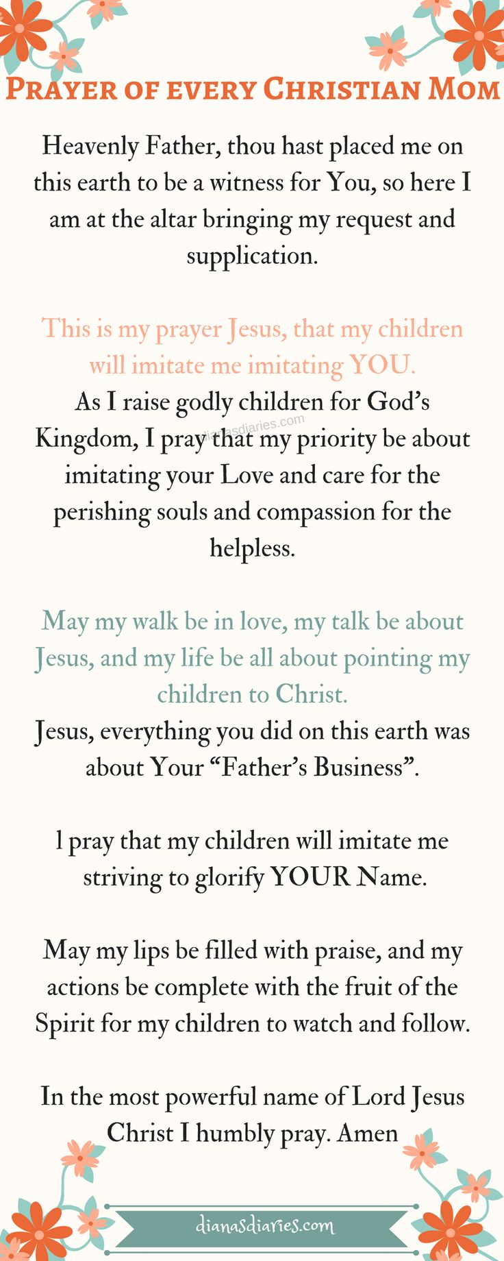 We don't necessarily have to teach our children everything because many of the  things they pick up on their own by watching us. Until that day I didn't pray this prayer. Here is that One prayer every Christian Parent must pray Shalom Diana #prayingparent #ChristianPrayer