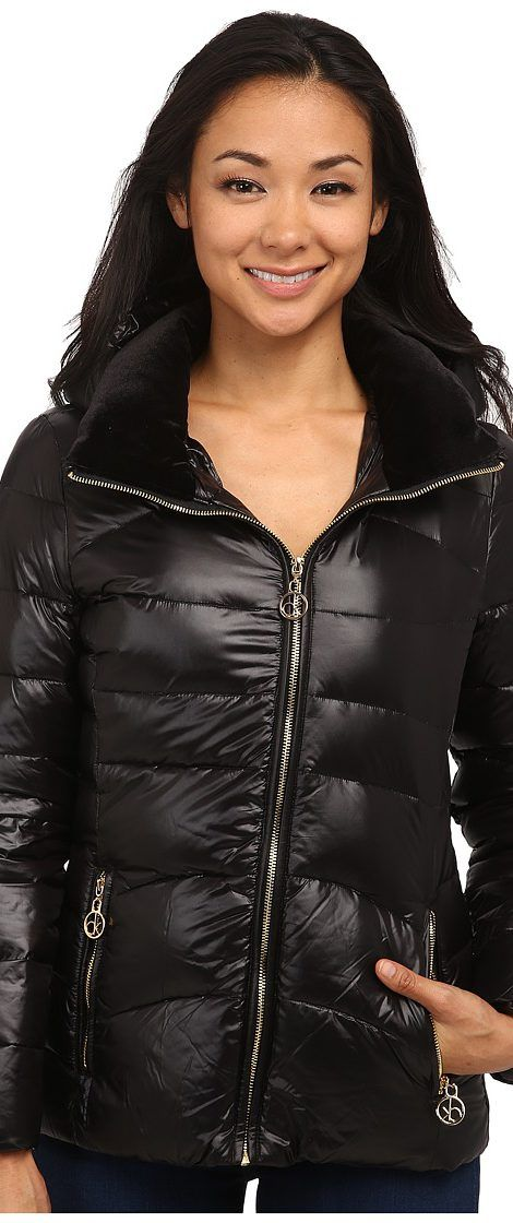 Calvin Klein Short Down Coat w/ Gold Hardware (Black) Women's Coat - Calvin Klein, Short Down Coat w/ Gold Hardware, CW416947-001, Apparel Top Coat, Coat, Top, Apparel, Clothes Clothing, Gift - Outfit Ideas And Street Style 2017