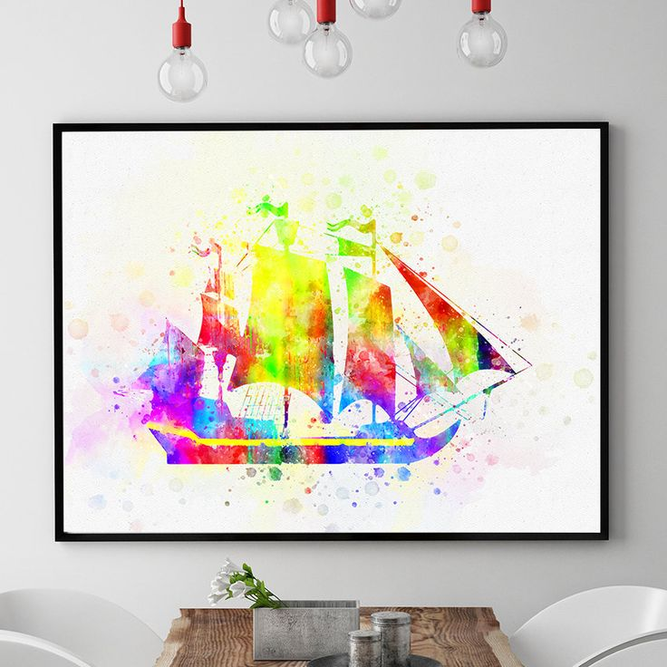 Caravel Print, Sailing Ship Art, Watercolour Sailing Gift, Nursery Prints, Kids Room Decor, Sailing Theme Glicee (N304) by PointDot on Etsy