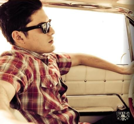 Rockabilly guy. Greaser style. Plaid shirt. Sunglasses. Cruising. -- original american hot rod clothing - lucky13