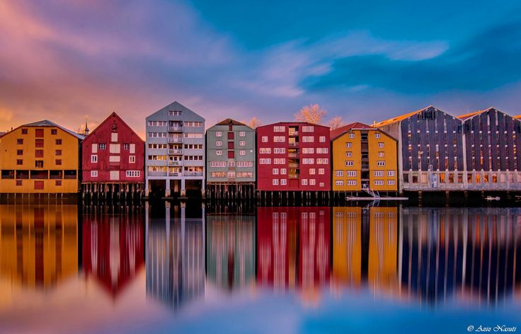 AWESOME Reflection in Nidelva, Bakklandet, Trondheim by Aziz Nasuti on 500px