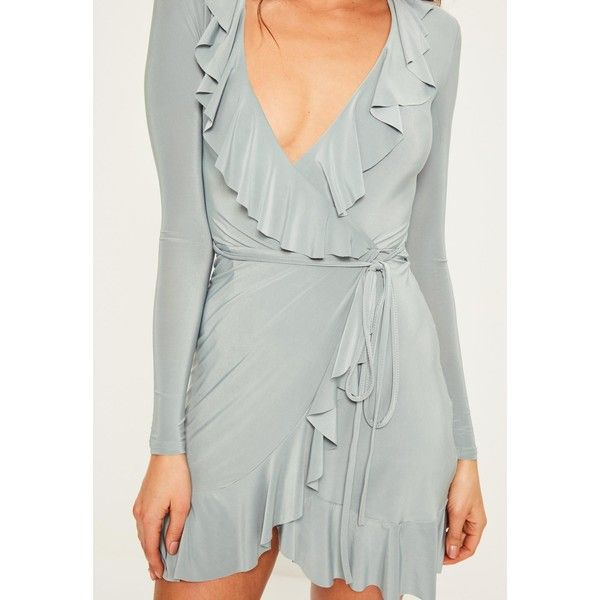 Missguided Slinky Frill Wrap Bodycon Dress (140 BRL) ❤ liked on Polyvore featuring dresses, gray bodycon dress, grey dress, cocktail party dress, grey party dresses and grey cocktail dress
