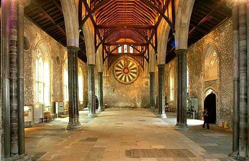 The Great Hall and Round Table, Winchester, Hampshire, England.  13th century hall.  King Arthur, Knights,