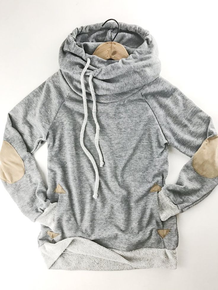 Cozy Cowl Neck Hoodie. So cozy you'll live in it!!!!  Our Cozy Cowl Neck Hoodie is a soft french terry sweatshirt material with faux sued elbow patches and pocket detail. Winter wardrobe. Fall fashion. Casual outfits. therollinj.com