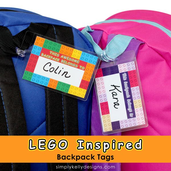 Both of my kids are obsessed with LEGOs. They have been building, rebuilding and inventing their own creations all summer long. backpack tags, FREE PRINTABLE found at simply kelly designs. #backtoschool #organizewithkids #schoolbackpacks
