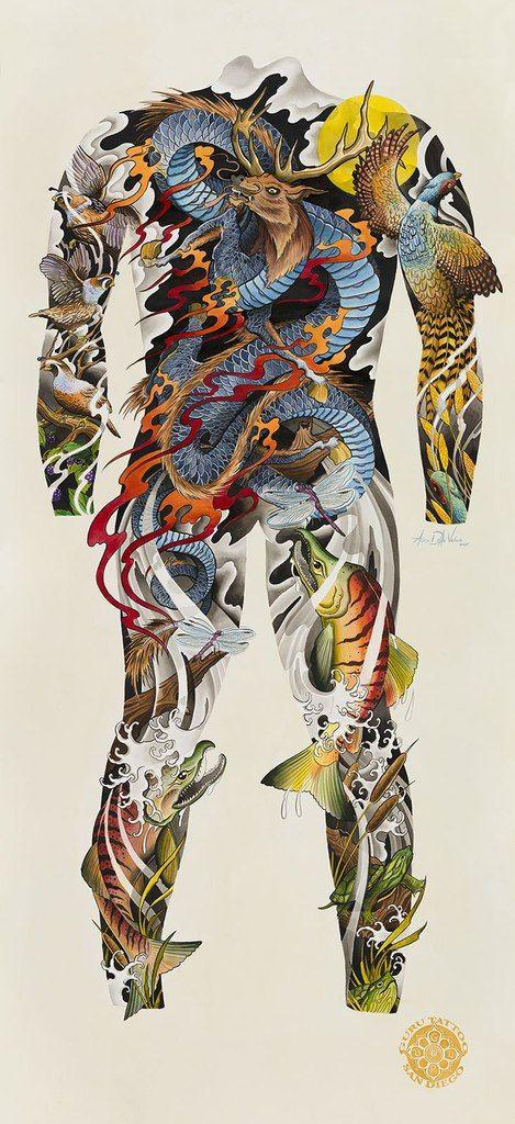 Тату эскизы, Японские татуировки, карп кои, тату драконы.   117 <strong>карп тату на всю спину</strong> фотографий