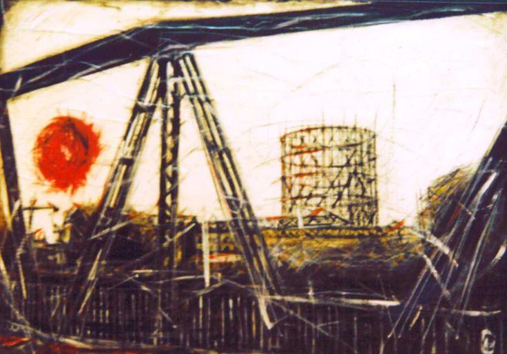 Gasometro acrylic and oil on canvas