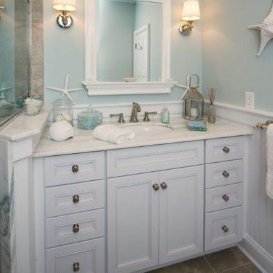 Small Hall Bathroom Design - Beach Theme