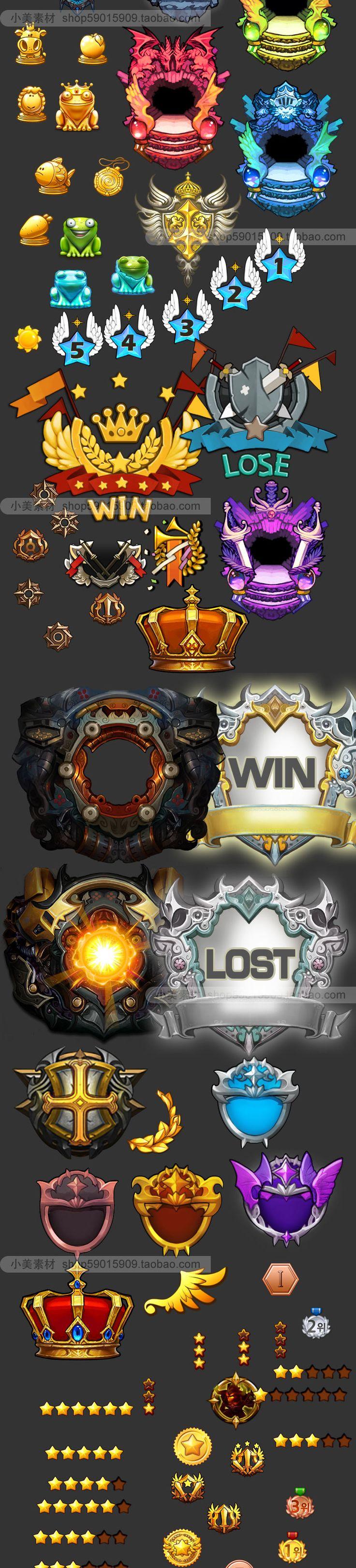 手游游戏UI设计常用素材 徽章 皇冠 等级 图腾 勋章 图标 素材-淘宝网全球站