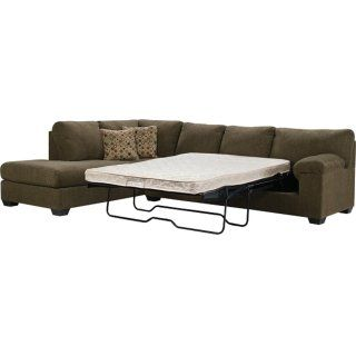 Create a modern, chic lounging space with the versatile Morty sofa bed sectional. Soft, brown chenille upholstery gives your home a cozy, appealing look at a great value. Invite your friends and family to relax on high-density foam cushions, which are reinforced with a durable seat support system. Plus, you will always have room for overnight guests with the full-size sofa bed.