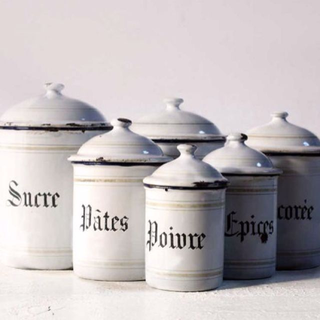 Beautiful Vintage French Set Of Six White Enamel Canisters By Ruedeslouves