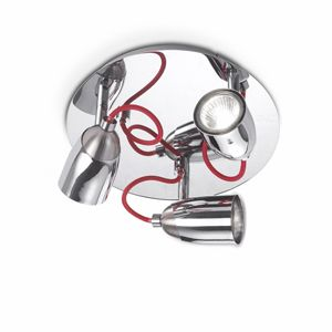Plafonnier en métal chromé et cable en tissu rouge Pollicino - 75€
