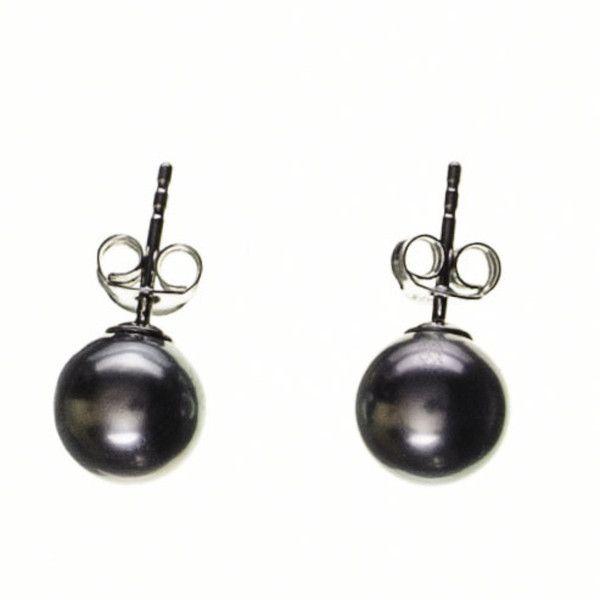 Black Titania Tahitian Black Pearl Ear Studs ($230) ❤ liked on Polyvore featuring jewelry, earrings, accessories, pearl jewellery, butterfly stud earrings, pearl jewelry, white pearl stud earrings and earring jewelry