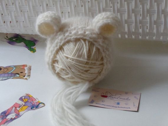 Newborn Bonnet.Baby Bonnet.Newborn Hat.Baby Girls by knitsdwarfs