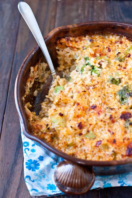 Cheesy Chipotle Chicken and Rice Casserole. Use brown rice and wheat flour, and leave out the chilis