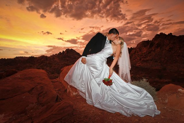 Vegas weddings are not all about Elvis and little white drive-through chapels. Valley of Fire offers a beautiful and romantic scenery for your wedding nuptials (photos by Melissa Tomsik)