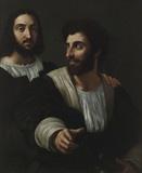 라파엘로와 펜싱 선생 - 라파엘로  1513. 루브르 박물관.  이 작품은 라파엘로와 그의 펜싱교사로 알려져있으나 오른편의 인물이 누구인지는 구체적으로 밝혀진 바가 없습니다. 당시 초상화에서는 모델이 정면 혹은 측면을 바라보는 듯이 정지된 상태를 표현했다면 이 작품은 순간의 움직임을 포착했다는 점에서 생동감이 넘칩니다. 오른편 인물이 말을 거는 듯한 모습은 두 사람이 친밀한 사이를 말해주는 것 같습니다.