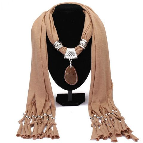 Agate Pendant Tassel Scarf Necklace Women Jewelry Autumn Winter – Red Lapis