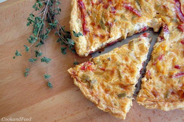 Cheese And Pepper Tart / Εύκολη τάρτα με πιπεριές και Βολάκι Άνδρου