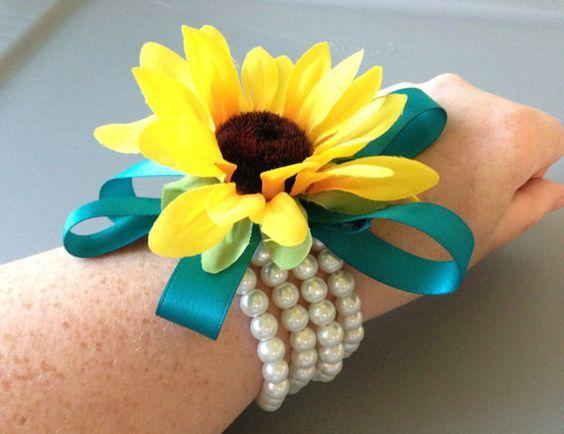 Sunflower Wrist Corsage Sunflower Wedding Pearl by BlissfulPetals ...