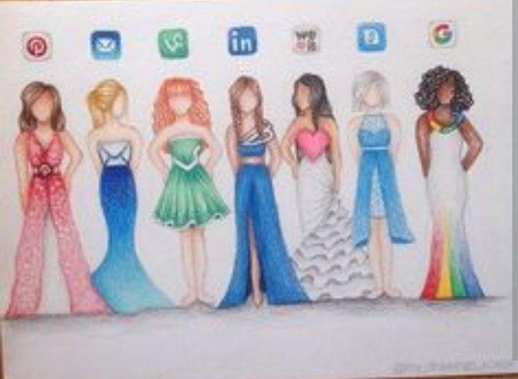Sosyal medya logolarının elbise hali