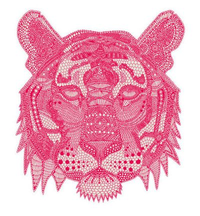 .Pink Tigers, Inspiration, Claire Scully, The Artists, Illustration, Prints, Design, Line Art, Animal