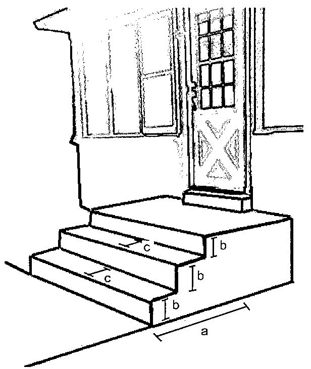Stair porch ramp plan dimensions a total number of for Handicap stairs plans