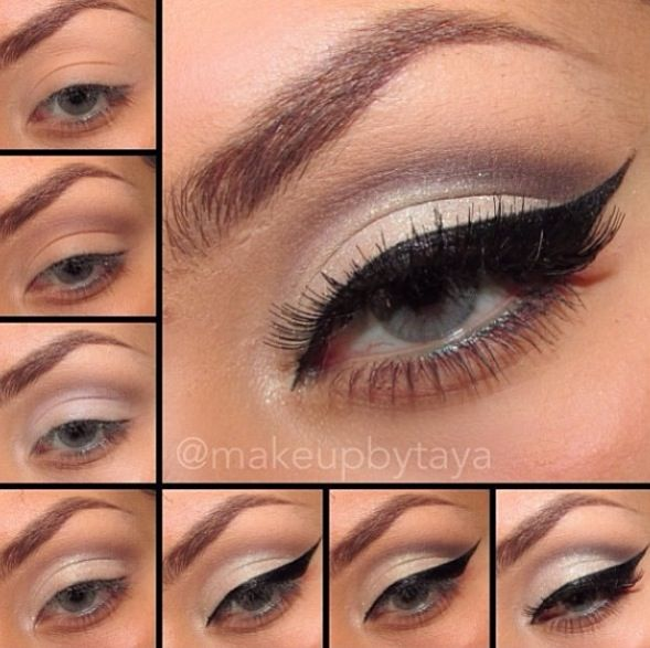 makeup step by step �� winged eyeliner with brown eyeshadow