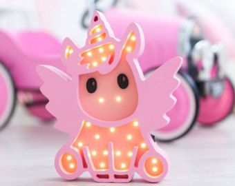 Unicorn Night Light Marquee Wooden Nursery Babyshower Gift Pony Baby Lamp Nightlight