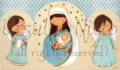 Triptico azul. Virgen azul. Angelitos. Virgin Mary