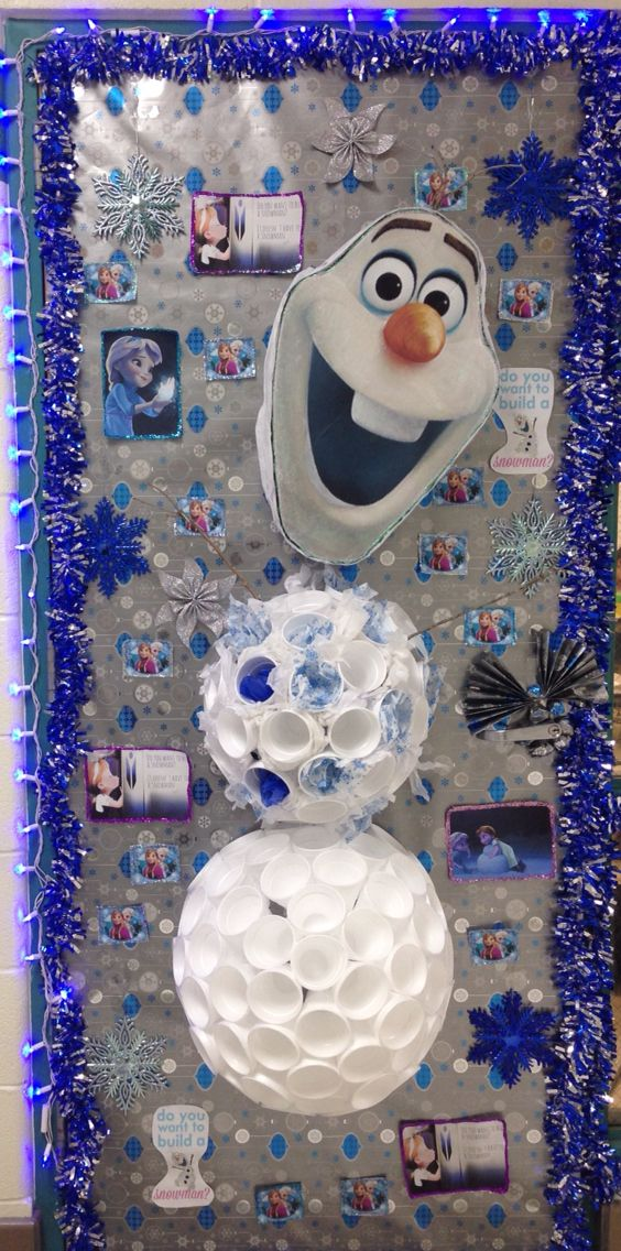 Olaf from Frozen classroom door decoration. Best door gets a pizza party! Hope we win. Olaf is made using styrofoam cups.