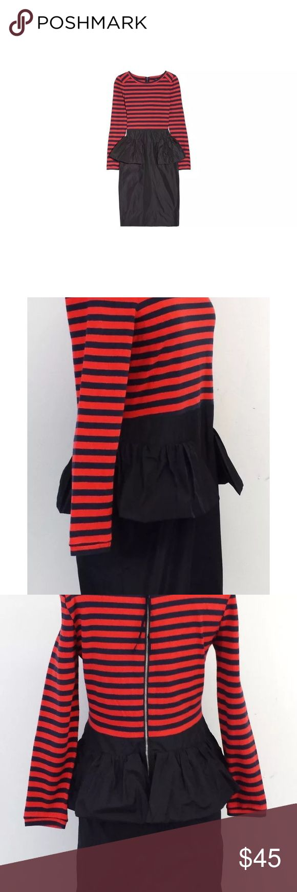 Striped & Peplum Midi Dress - Marc By Marc Jacobs Red and Navy striped top attached to Navy peplum midi skirt Marc by Marc Jacobs Dresses Midi