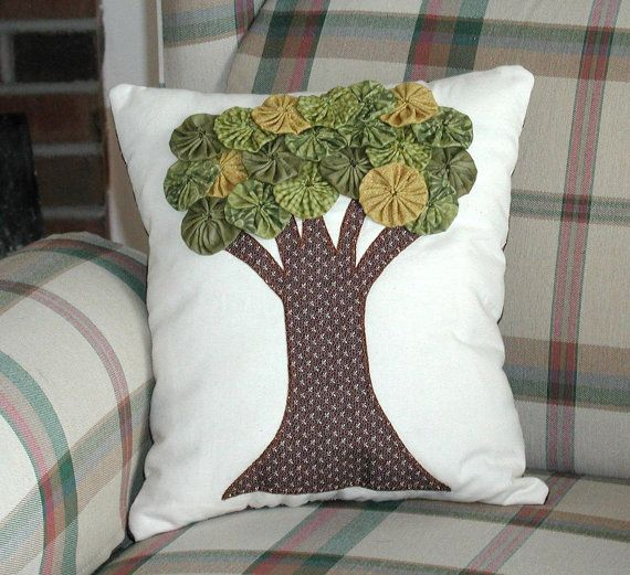 Yo Yo Tree Pillow by ecoughlindesigns on Etsy, $25.00