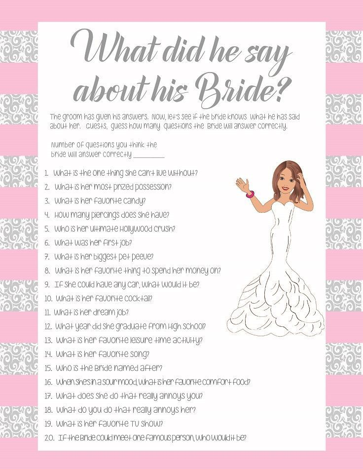 Pink what did he say about his bride bridal shower game for Non traditional bridal shower games