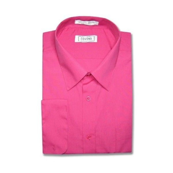Men's HOT PINK FUCHSIA Color Dress Shirt w/ Convertible Cuffs (25 CAD) ❤ liked on Polyvore featuring men's fashion, men's clothing, men's shirts, men's dress shirts, fuchsia mens dress shirt, mens dress shirts, hot pink mens shirt, mens fuschia dress shirt and mens french cuff shirts
