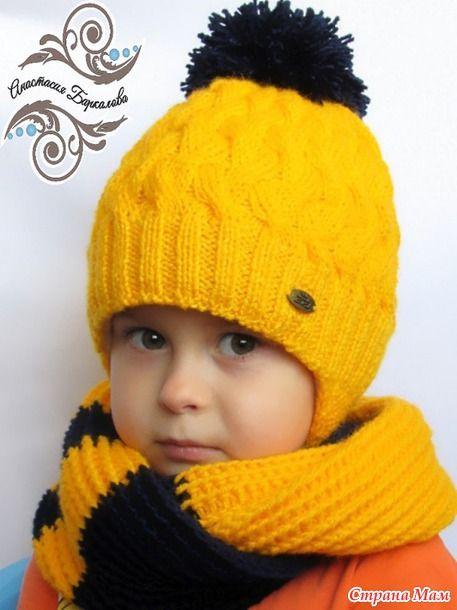 Теплые шапочка и снуд для озорного мальчика