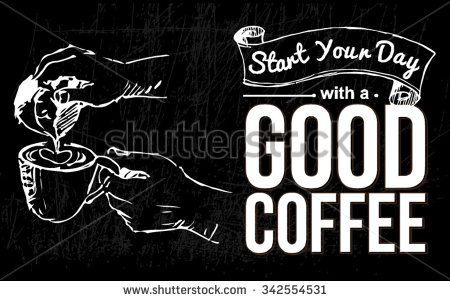 hand drawn chalkboard sketch about coffee  - stock vector