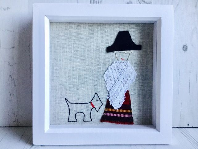 Welsh Lady with little dog picture £18.00