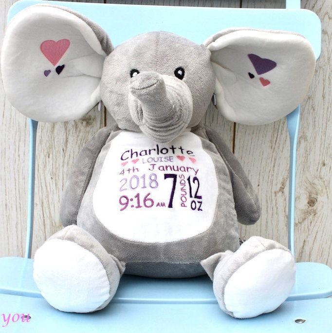 PERSONALISED FLEECE BLANKET 1ST CHRISTMAS NEWBORN BABY GIFT GIRL//BOY ELEPHANT