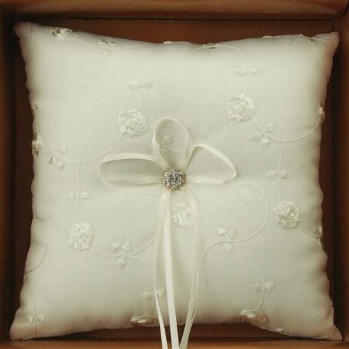 Ring Bearer Satin Pillows Wedding Occassion, 7-inch, Embroidered Flower Vines, Ivory, CLOSEOUT