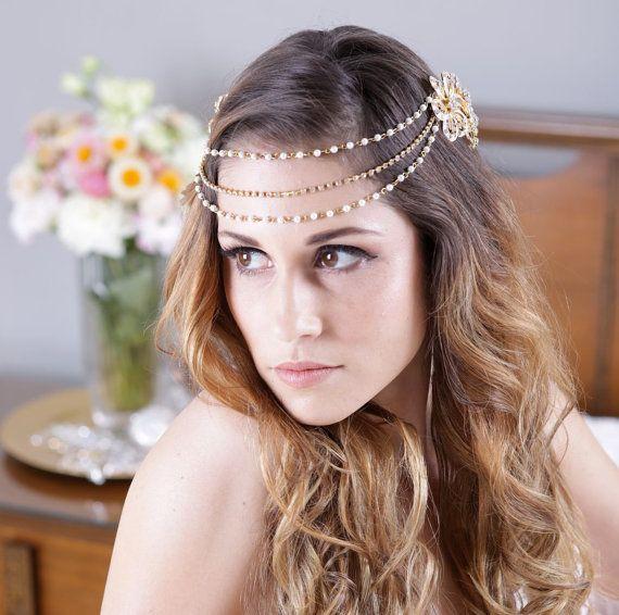 Gold Pearl and Rhinestone Headband or Bridal Halo :)