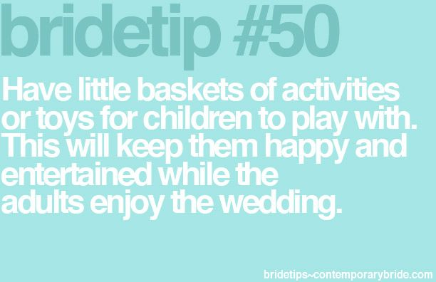 """#ChildrenatWeddings #Wedding Advice We had a fair share of kids @ our wedding so i went to the .99 cent store and picked up a bunch of coloring books and crayons  some old maid , go fish / card games - put them in a basket on the """"kids' table! - & it was a hit! - parent's said 'thanks! that was a great idea!"""""""